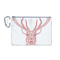 Modern red geometric christmas deer illustration Canvas Cosmetic Bag (M)