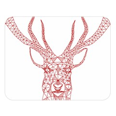 Modern red geometric christmas deer illustration Double Sided Flano Blanket (Large)