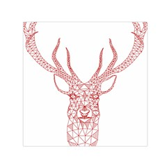 Modern red geometric christmas deer illustration Small Satin Scarf (Square)