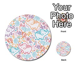 Cute pastel tones elephant pattern Multi-purpose Cards (Round)