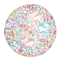Cute Pastel Tones Elephant Pattern Round Filigree Ornament (2side)