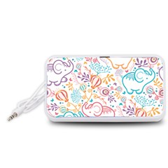 Cute pastel tones elephant pattern Portable Speaker (White)
