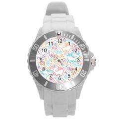 Cute pastel tones elephant pattern Round Plastic Sport Watch (L)