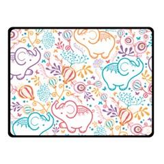 Cute Pastel Tones Elephant Pattern Double Sided Fleece Blanket (small)