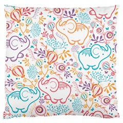 Cute pastel tones elephant pattern Large Flano Cushion Cases (Two Sides)