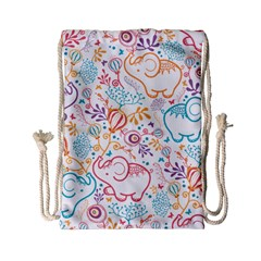 Cute pastel tones elephant pattern Drawstring Bag (Small)
