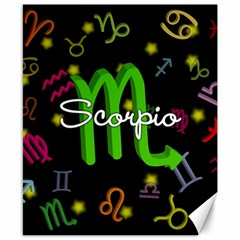 Scorpio Floating Zodiac Name Canvas 8  x 10