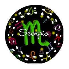 Scorpio Floating Zodiac Name Ornament (Round Filigree)