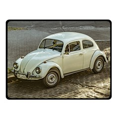 Classic Beetle Car Parked On Street Double Sided Fleece Blanket (small)