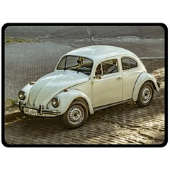 Classic Beetle Car Parked On Street Double Sided Fleece Blanket (large)