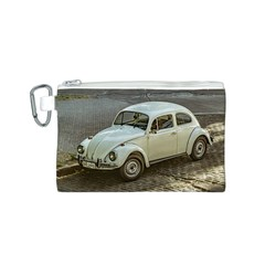 Classic Beetle Car Parked On Street Canvas Cosmetic Bag (S)