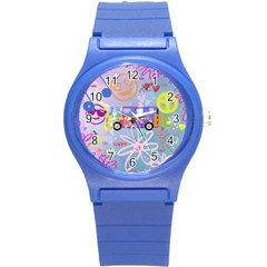 Summer Of Love   The 60s Round Plastic Sport Watch (S)