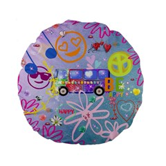 Summer Of Love   The 60s Standard 15  Premium Flano Round Cushions