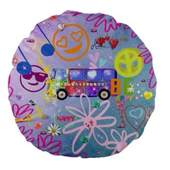 Summer Of Love   The 60s Large 18  Premium Flano Round Cushions