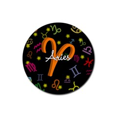 Aries Floating Zodiac Sign Rubber Round Coaster (4 pack)
