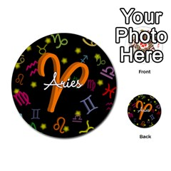 Aries Floating Zodiac Sign Multi-purpose Cards (Round)