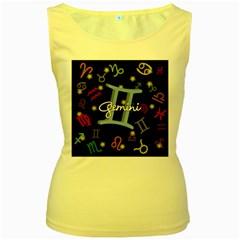 Gemini Floating Zodiac Sign Women s Yellow Tank Tops