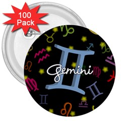 Gemini Floating Zodiac Sign 3  Buttons (100 pack)