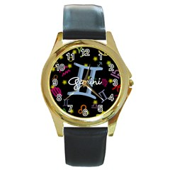 Gemini Floating Zodiac Sign Round Gold Metal Watches