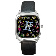 Gemini Floating Zodiac Sign Square Metal Watches