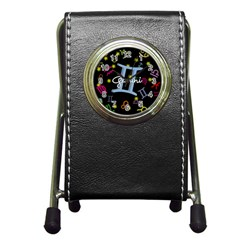 Gemini Floating Zodiac Sign Pen Holder Desk Clocks