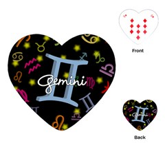 Gemini Floating Zodiac Sign Playing Cards (Heart)