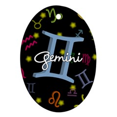 Gemini Floating Zodiac Sign Oval Ornament (Two Sides)