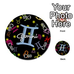 Gemini Floating Zodiac Sign Playing Cards 54 (Round)