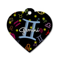 Gemini Floating Zodiac Sign Dog Tag Heart (One Side)