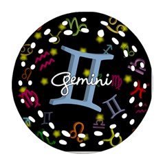 Gemini Floating Zodiac Sign Ornament (Round Filigree)