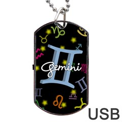Gemini Floating Zodiac Sign Dog Tag USB Flash (One Side)