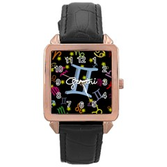 Gemini Floating Zodiac Sign Rose Gold Watches