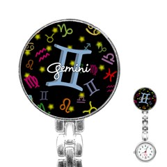 Gemini Floating Zodiac Sign Stainless Steel Nurses Watches