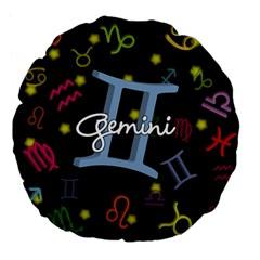 Gemini Floating Zodiac Sign Large 18  Premium Flano Round Cushions