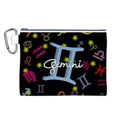 Gemini Floating Zodiac Sign Canvas Cosmetic Bag (L)