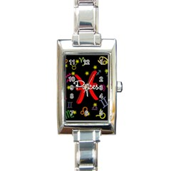 Pisces Floating Zodiac Sign Rectangle Italian Charm Watches