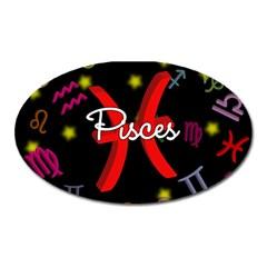 Pisces Floating Zodiac Sign Oval Magnet