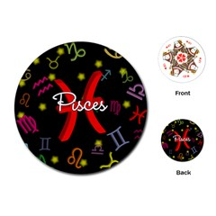 Pisces Floating Zodiac Sign Playing Cards (Round)