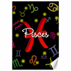 Pisces Floating Zodiac Sign Canvas 12  x 18