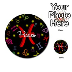 Pisces Floating Zodiac Sign Multi-purpose Cards (Round)