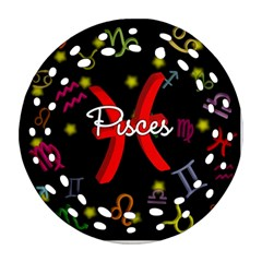 Pisces Floating Zodiac Sign Ornament (round Filigree)