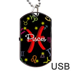 Pisces Floating Zodiac Sign Dog Tag Usb Flash (two Sides)