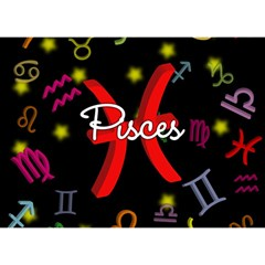 Pisces Floating Zodiac Sign Birthday Cake 3D Greeting Card (7x5)