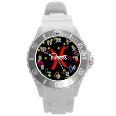 Pisces Floating Zodiac Sign Round Plastic Sport Watch (L)