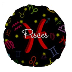 Pisces Floating Zodiac Sign Large 18  Premium Round Cushions