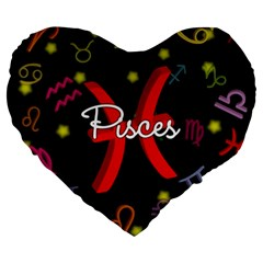 Pisces Floating Zodiac Sign Large 19  Premium Flano Heart Shape Cushions