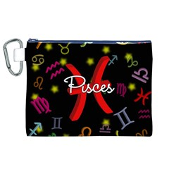 Pisces Floating Zodiac Sign Canvas Cosmetic Bag (XL)
