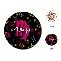 Virgo Floating Zodiac Sign Playing Cards (Round)