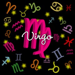 Virgo Floating Zodiac Sign Magic Photo Cubes