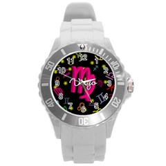 Virgo Floating Zodiac Sign Round Plastic Sport Watch (L)
